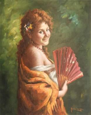 Nello Iovine Woman with Fan