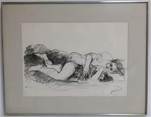 Resch 20th C Reclining Nude Lithograph