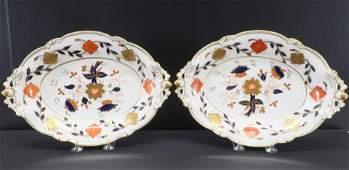 Pair Royal Crown Derby Imari Dishes, Tiffany