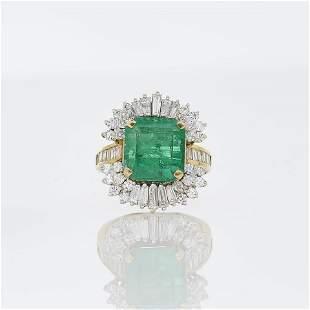 5ct Emerald & Diamond Ring
