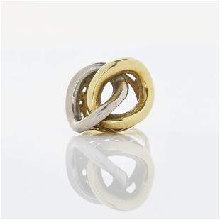 18k Yellow and White Gold Double Twist Ring