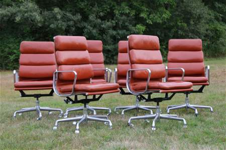 Set of 6 Eames Leather Executive Chairs