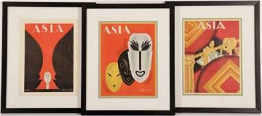 Set of Framed Asia Magazine Covers, c 1920-30
