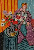 After Henri Matisse, Seated Woman & Flowers, O/C