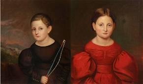 The Lansing Twins, Pr American O/C Portraits 1825
