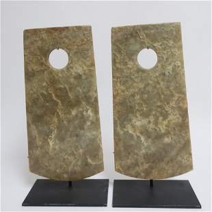 Two Large Longshan Style Jade Ax Blades