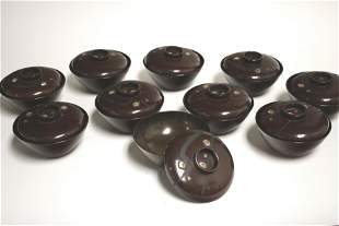 Set of 10 Japanese Mother of Pearl Lacquer Bowls