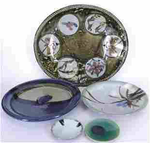 5 Modern Asian Stoneware Plates