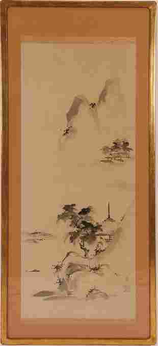 Asian Framed Scroll Temples ink on paper