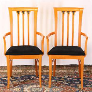 Pr Modern Cherry Stained Beechwood Armchairs