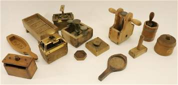 Group of 12 Wooden Butter Molds