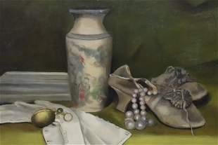Maude L Baker Still Life Chinese Vase Shoes