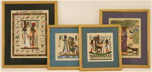 4 Framed Egyptian Paintings on Papyrus
