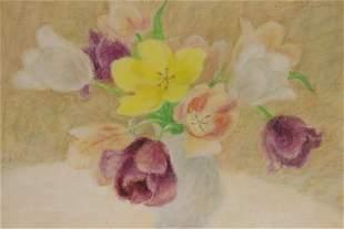 Elsie Manville b1922 Vase of Flowers Pastel