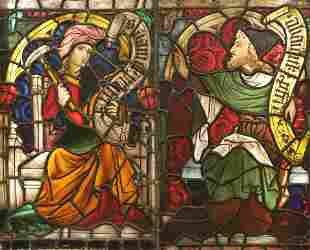 Stained Glass Double Panel Window, Prophets