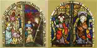 Arched Ecclesiastical Stained Glass Double Windows