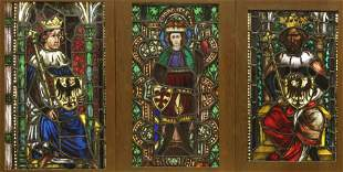 3 Leaded Stained Glass Window Panels, 19th C.