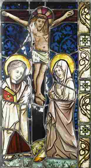Ecclesiastical Stained Glass Window, Crucifix