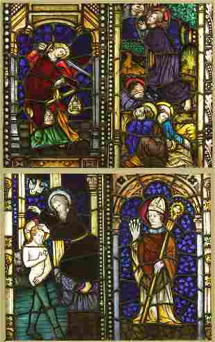 4 Ecclesiastical Stained Glass Windows, Geyling