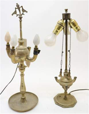 Two Baroque Style Brass Oil Lamps