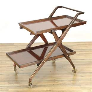 Mid Century Walnut Stained Two-Tier Serving Cart