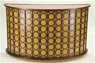 Contemporary Ash & Walnut Demilune Cabinet