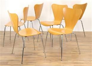 Set of 6 Arne Jacobsen Style Series 7 Chair