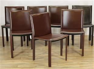 6 Filippo Sibau Burgundy Leather Dining Chairs