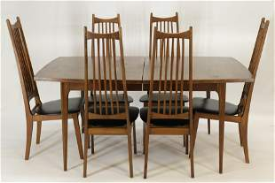 Mid Century Modern Walnut Table & Chairs