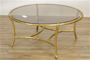Bagues Style Gilt Metal Circular Coffee Table