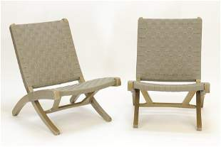 Pr Contemporary Green/Leather Folding Chairs