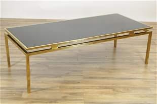 1970's Brass & Smoked Glass Coffee Table