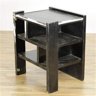 James Mont Style Black Lacquer Small Etagere