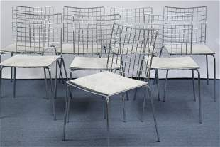 Eight Chromed Bertoia Style Side Chairs