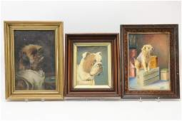 3 Paintings of Dogs, Terrier, O/B