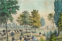 Currier & Ives - Central Park, The Drive, litho