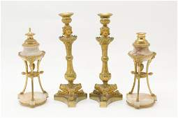 2 Pair French Gilt Bronze Candlesticks 19th C