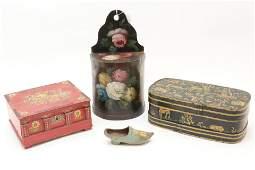3 Folk Art Boxes & Shoe