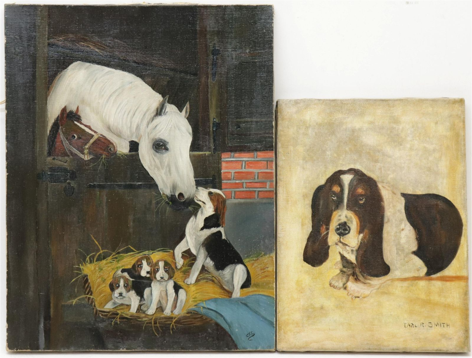 Dogs & Horse, 20th C., 2 Oil on Canvas
