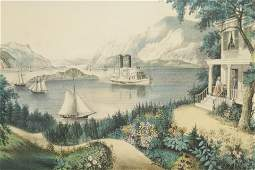 Currier  Ives View on Hudson River 19th C