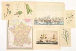 18th19th C Botanical and Nautical prints