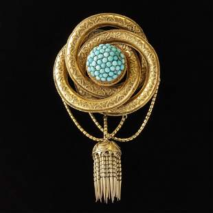Victorian 14K & Turquoise Pin