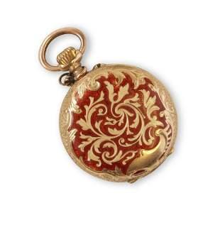 14k Gold & Enamel Ladies Pocket Watch