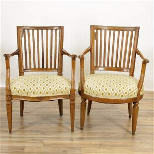 2 Italian Neo-Classic Open Armchairs, 18th C