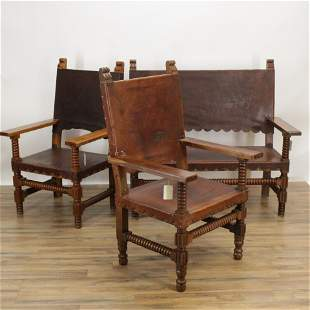 Suite of Spanish Colonial Seating, Bench + Chairs