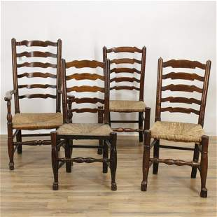 Four English Elm Ladder Back Chairs, 18th C