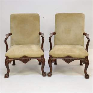 Pair of George II Style Walnut Library Armchairs