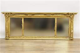 American Classical 3-Part Gilt Over Mantel Mirror