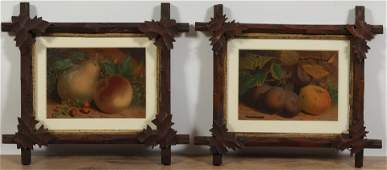 Pr Still Lifes of Fruit, 19th C., Tramp Art Frames