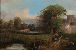 Continental School, 19th C., Village Landscape O/C